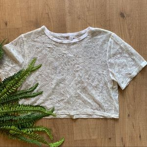 Tops - lace see through crop top elegant size small